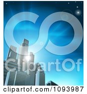 Clipart 3d Skyscrapers In An Urban City Block Against Blue Rays And Sky Royalty Free Vector Illustration