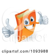 Clipart 3d Orange Book Character Smiling And Holding Two Thumbs Up Royalty Free Vector Illustration