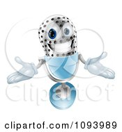 Clipart 3d Welcoming Silver And Blue Microphone Royalty Free Vector Illustration by AtStockIllustration