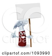 Poster, Art Print Of 3d Hammer Character Holding A Thumb Up And A Blank Sign