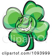 Clipart Smiling St Patricks Day Shamrock Clover Royalty Free Vector Illustration