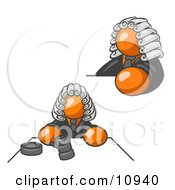Orange Judge Man In Court Clipart Illustration
