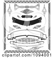 Clipart Black And White Banners And Borders Royalty Free Vector Illustration