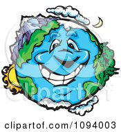 Clipart Happy Smiling Earth Character With Landscapes Royalty Free Vector Illustration by Chromaco