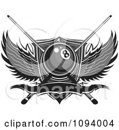 Clipart Billiards Eight Ball With Sticks Wings And Banner Royalty Free Vector Illustration