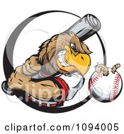 Clipart Strong Baseball Eagle Swinging A Bat At A Ball With A Worm Royalty Free Vector Illustration