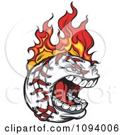 Clipart Screaming Flaming Baseball Character Royalty Free Vector Illustration
