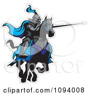 Clipart Jousting Knight With A Blue Cape And Extended Lance Royalty Free Vector Illustration