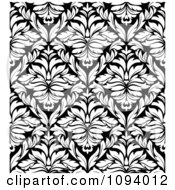 Clipart Black And White Triangular Damask Pattern Seamless Background 8 Royalty Free Vector Illustration