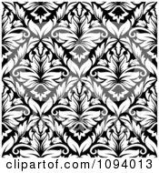 Clipart Black And White Triangular Damask Pattern Seamless Background 9 Royalty Free Vector Illustration