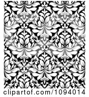 Clipart Black And White Triangular Damask Pattern Seamless Background 10 Royalty Free Vector Illustration