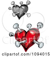Clipart Shiny Red And Grayscale Stabbed Hearts Royalty Free Vector Illustration