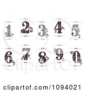 Clipart Vintage Numbers 1 Through 0 With Flourishes And Rule Dividers Royalty Free Vector Illustration