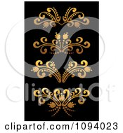 Clipart Golden Flourish Rule And Border Design Elements 5 Royalty Free Vector Illustration