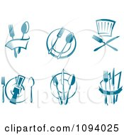 Clipart Blue Dining And Restaurant Logos Royalty Free Vector Illustration