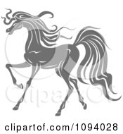 Clipart Gray Trotting Horse Royalty Free Vector Illustration