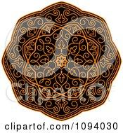 Clipart Orange And Black Medieval Medallion Ornament 1 Royalty Free Vector Illustration