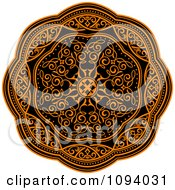 Clipart Orange And Black Medieval Medallion Ornament 2 Royalty Free Vector Illustration