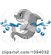 Clipart Gray Dolphin Wading In The Surf Royalty Free Vector Illustration by Vector Tradition SM