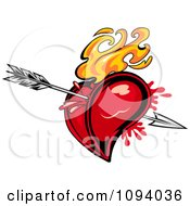 Clipart Flaming Red Heart Pierced With Cupids Arrow Royalty Free Vector Illustration by Vector Tradition SM