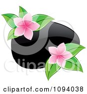 Black Hot Massage Stone And Pink Frangipani Flowers With Leaves