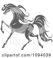 Clipart Gray Prancing Horse Royalty Free Vector Illustration