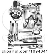 Clipart Kitchen Items And Food Black And White Woodcuts Royalty Free Vector Illustration