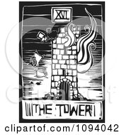 Burning Tower Tarot Card Black And White Woodcut