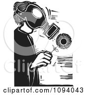 Clipart Man Wearing A Gas Mask And Holding A Flower Black And White Woodcut Royalty Free Vector Illustration