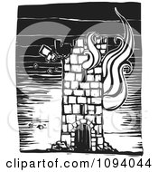 Clipart Burning Tower Black And White Woodcut Royalty Free Vector Illustration by xunantunich