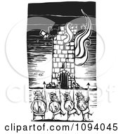 Clipart Vikings And A Burning Tower Black And White Woodcut Royalty Free Vector Illustration by xunantunich