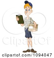 Clipart Friendly Mailman Or Delivery Courier Man Holding A Package Royalty Free Vector Illustration
