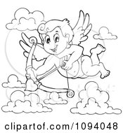 Clipart Outline Of A Valentine Cupid Shooting A Heart Arrow 1 Royalty Free Vector Illustration by visekart