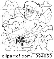Clipart Outlined Valentine Cupid With A Wheelbarrow Of Hearts And Clouds Royalty Free Vector Illustration by visekart