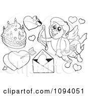 Clipart Outlined Valentine Cupid With Hearts A Love Letter And Cake Royalty Free Vector Illustration by visekart