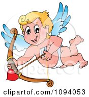 Clipart Valentine Cupid Shooting A Heart Arrow Royalty Free Vector Illustration