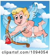 Clipart Valentine Cupid Shooting A Heart Arrow In The Sky Royalty Free Vector Illustration by visekart