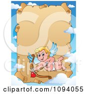 Clipart Valentine Cupid And Sky Frame With Parchment Copyspace Royalty Free Vector Illustration by visekart