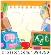 Clipart Frame Of School Items And Blank Paper Copyspace On Orange Royalty Free Vector Illustration