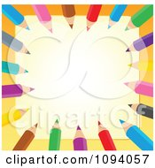 Clipart Border Of Colored Pencils And Copyspace Royalty Free Vector Illustration