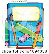 Clipart Blue Notebook With A Pencil Paintbrush Eraser Ruler And Pen Royalty Free Vector Illustration by visekart