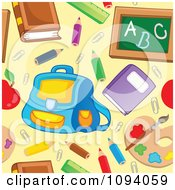 Clipart Seamless School Item Background Pattern On Yellow Royalty Free Vector Illustration by visekart