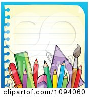 Clipart Border Of School Supplies And Ruled Paper 2 Royalty Free Vector Illustration