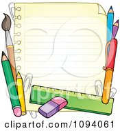 Clipart Border Of School Supplies And Ruled Paper 1 Royalty Free Vector Illustration