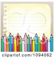 Clipart Border Of Colored Pencils And Paper Copyspace Royalty Free Vector Illustration