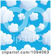 Clipart Seamless Puffy White Cloud And Blue Sky Background 1 Royalty Free Vector Illustration