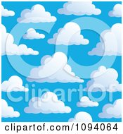 Clipart Seamless Puffy White Cloud And Blue Sky Background 2 Royalty Free Vector Illustration by visekart