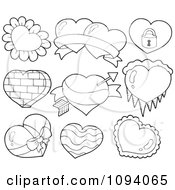 Clipart Outlined Valentine Hearts With Petals Ice A Padlock And Bricks Royalty Free Vector Illustration