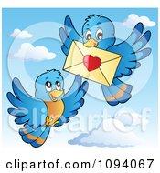 Clipart Blue Birds Exchanging A Love Letter Envelope Royalty Free Vector Illustration