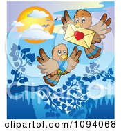 Clipart Brown Birds Exchanging A Love Letter Envelope Royalty Free Vector Illustration by visekart